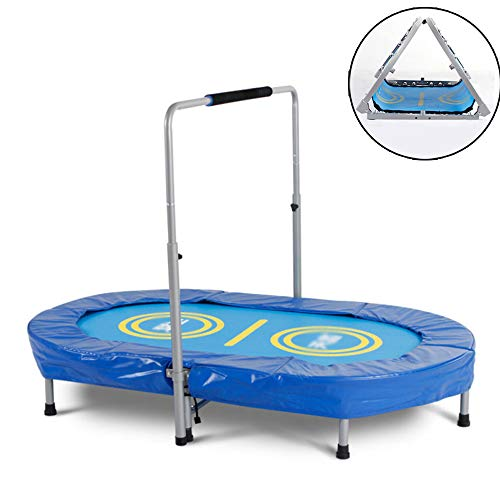 QXTT Fitness Trampoline For Adults Foldable Trampoline For Two Kids Max Load 100kg Includes Handle 5 Height Settings Spring Folding Trampoline For Children Toddler Indoor Outdoor Exercise