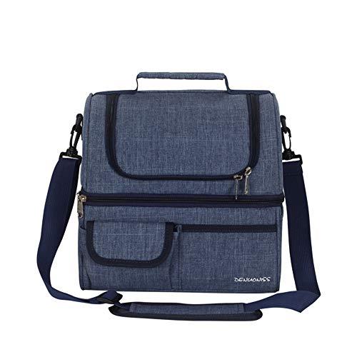 Lunch Tasche, Popoti Isolierter Lunch Bag 2 Schichten Große 13L Tote Tasche Damen Herren Kühltasche Thermo für Arbeit und Schule Picknick Campingausflug (Blau-2)