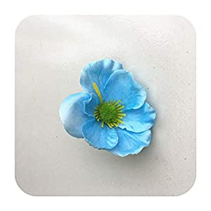 Hopereo 15Colors 7Cm Artificial Silk Poppy Flower Heads for DIY Wedding Decoration Hairpin Wreath Accessories Festival Supplier-6-15 Pieces