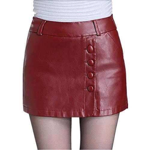 Valin FS532 Damen Kunstleder Rock Große Größe Kurz Mini Röcke Leder Rock,Rot,M
