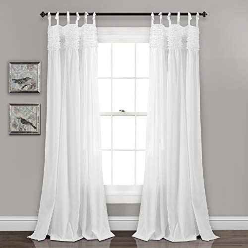 """Lush Decor Lydia Curtains Ruffle Window Panel Set for Living, Dining, Bedroom (Pair), 84"""" L, White"""