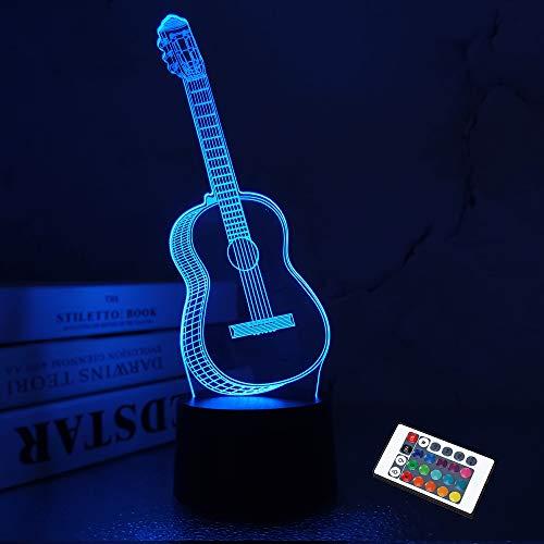 3D Nachtlicht Gitarre Geschenke für Musikliebhaber, Illusionslampe mit Fernbedienung 16 Farben, die erstaunliche Auswahl an Ideen für Musikinstrumenten Shop Home ändern