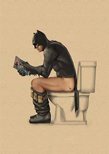 Marvel Super-Héros Batman Toilette Affiche Drôle Mur Art Affiches Rétro Kraft Papier Imprime Mur Photos Pour Salle De Bains Décor 42X30Cm Or