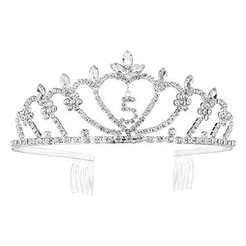 Lurrose Corona de Princesa de Cristal para Cumpleaños de Niña de 5 años Adorno de Pelo para Fiesta Cumpleaños de Niña Disfraces de Princesa para Niña (Plata)