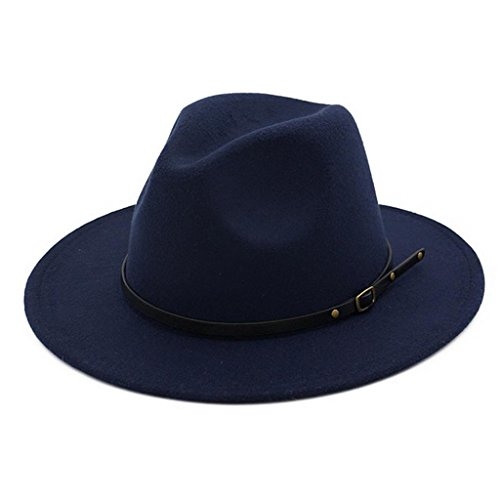 Lisianthus Women Belt Buckle Fedora Hat Navy-Blue