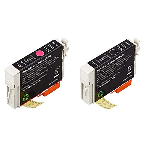AmazonBasics - Cartucho de tinta regenerado, Epson Apple T128, magenta + Cartucho de tinta regenerado, Epson Apple T128, negro