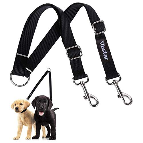 Vastar Double Dog Walker, Adjustable Heavy Duty Double Dog Leash for Pets, No Tangle Two Dogs Training Leash for Dogs up to 110 Pounds, Premium Quality Dog Leash Coupler for 2 Dogs
