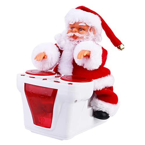 BESPORTBLE Weihnachtsmann Figur Dekofigur Santa Schlagzeuger Elektrischer Weihnachtsfiguren Tanzender Nikolaus mit Musik Kinder lustig Schlagzeug Schreibtisch Dekoration Zimmerdeko
