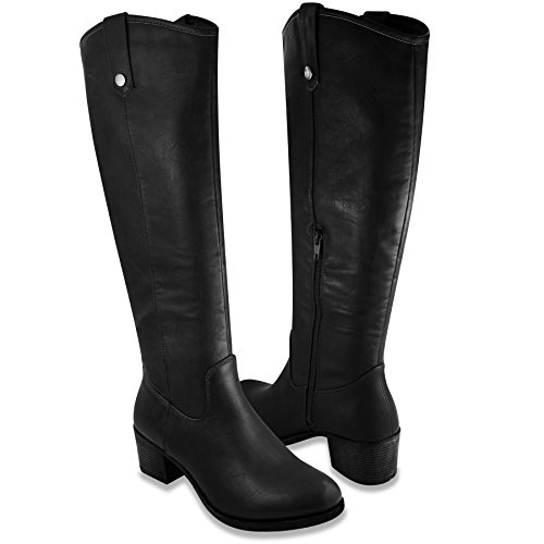 Rampage Womens Italie Riding Boot 10 Black Distressed