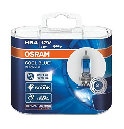 OSRAM 2x HB4 12V 51W P22d COOL BLUE © ADVANCE WHITE 5000K XENON EFFECT HALOGEN BIRNEN