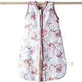 Aenne Baby, Saco de dormir para bebé niña, manta de bebé rosa con amapola floral – Saco de dormir para bebé, TOG2.5 cálido algodón de bambú de 4 capas, pequeño (2-8 meses, 70 cm) 1 paquete