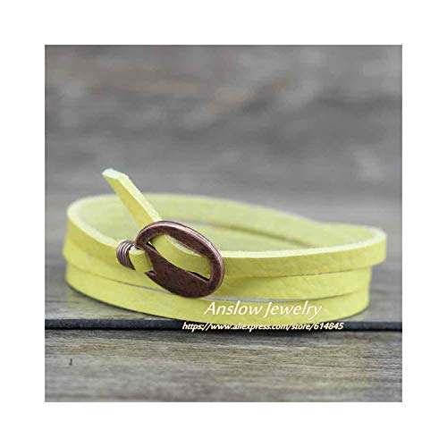 CNSP VIVIZEY Fashion Jewelry Wholesale Vintage Multilayer Wrap Leather Bracelet For Men Women 65Cm Gift LOW0232LB Yellow