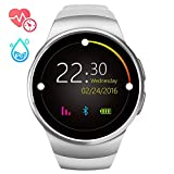 JUANN KW18 Smart Watch Card Information Synchronization Sports Meter Step Heart Rate Bluetooth Anti-Lost Waterproof Suitable for Running/Cycling/Basketball/Swimming,Silver