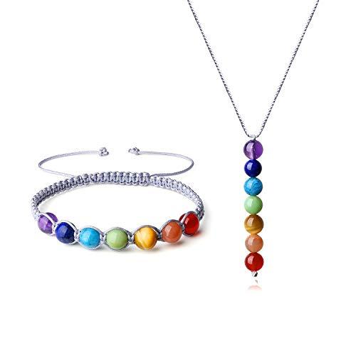 COAI Conjunto de Collar y Pulsera Ajustable con Piedras de 7 Chakras