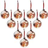 BELLE VOUS Bola Navidad Foto 2X 75 mm (Pack de 10) Adornos Navidad Bola de Navidad Transparente con Cordel Decoración Árbol de Navidad Personalizada Fiestas para Fotos Familia, Amigos, Mascotas