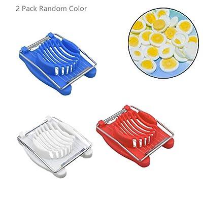 2 Pack Egg Slicer,Egg Cutter Slicer for Boiled Eggs Strawberry Fruit Garnish Slicer,Kitchen Stainless Steel Wire Cutter Slicer Outdoor Cooking Tools(Random Color)