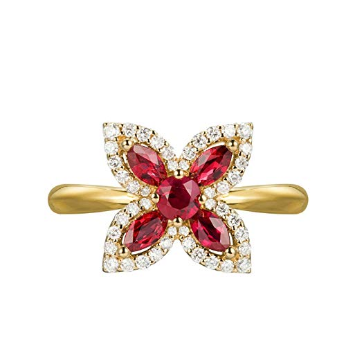 Daesar 18K Yellow Gold Engagement Ring Women 0.23ct Diamond Ring Jewelry Cross Flowers Butterfly Marquise Cut Ruby Wedding Band Gold Ring Size O 1/2
