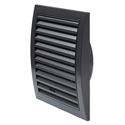 Ø 125mm Anthrazit Lüftungsgitter 190 x 190mm mit Schieberegler Abschlussgitter Insektenschutz ABS-Kunststoff Gitter
