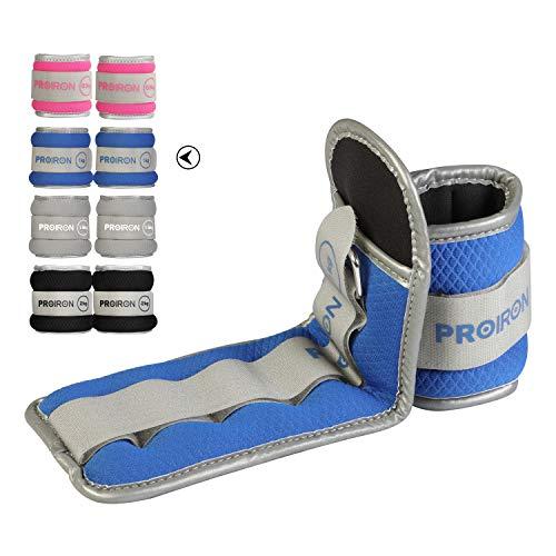 PROIRON Lastres Tobillos Pesas para Piernas Tobilleras 1kg×2 (Azul)con Peso con Diseño Reflectante y Correa Ajustable Pesas Tobillos Pesas para Tobillos