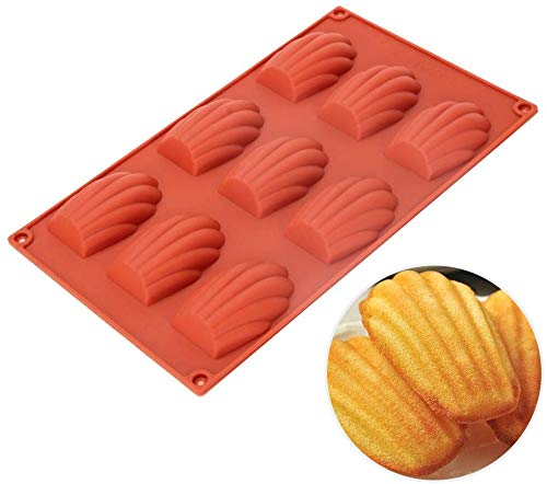 Silikon Madeleinen Molde - 9 Cavities Nonstick Silikon Mold, Backmold, Handmade Seife Moulds, Ice Cube Tray, Silikon Madeleines Pan for Cake Chocolate Candy Biscuit