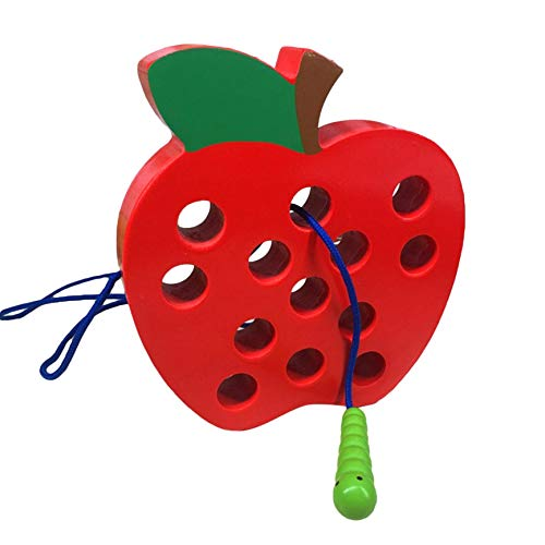 Fifet Enhebrado de Apple para la Educación Temprana Juego Juguetes para Niños (Madera)