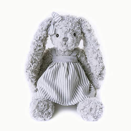 OELPAN Niedliche Cartoonspielwaren Gestreiftes Kleid Kaninchen Gefüllte Bunny Teddy Baby Baby Geschmeidiger Spielzeug Weihnachten Geburtstagsgeschenk für Kinder Mädchen