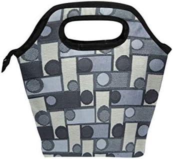 Lunch Tote Bag Cirkel Vierkant Patroon Koeler Handtassen met Rits voor Picknick