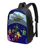 Hdadwy Mochila plegable para hombre y mujer, con puerto de carga USB, compartimento antipolvo, bolsa escolar, bolsas de libro para compras al aire libre, Am-on_g Us