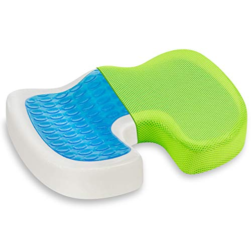 Vitabo Ergonomisch geformtes Sitzkissen | Steißbein-Kissen aus Memory-Schaum mit Gel-Polster (Grün)