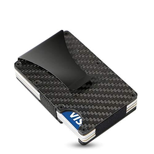 Estuche para Tarjetas SEMLIMIT Premium -  con Pinza de Carbono para Billetes,  protección NFC y RFID -  Billetera con Capacidad Desde 1 hasta 15 Tarjetas de crédito # para Hombres y Mujeres | Libro elec