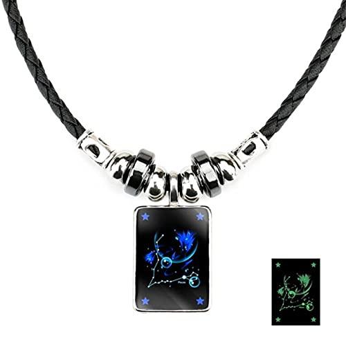 CXWK Signo del Zodiaco 12 constelación Colgante Collar para Mujeres Hombres Collar de Cadena de Cuero Regalo de cumpleaños