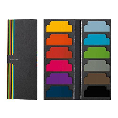 Semikolon (353103) Sticky Tab Markers - Haftstreifen, Haftmarker, Klebezettel -Je 40 Notizettel in 12 verschiedene Farben im Format 5 x2 cm