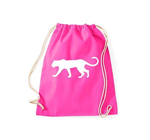 Unbekannt Turnbeutel; Tiermotiv Raubkatze, Puma, Leopard,Tiger, Jaguar, Panther, Löwe; Farbe Pink