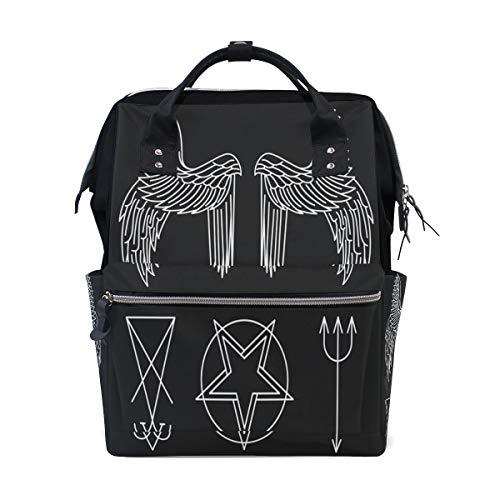 LINDATOP Lucifer Wickeltasche mit Vektor-Muster, Rucksack, Reise, Mumien-Wickeltasche, große Kapazität und multifunktional, stylische und langlebige Stilltasche