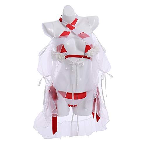 CHENSHENG Traje Diaria Trajes de Destino Nero Cos Traje de baño a Rayas Bikinis White Rose Rash Guardias for el Tobillo Pulsera de Cosplay de (Color : 1, Size : XL)