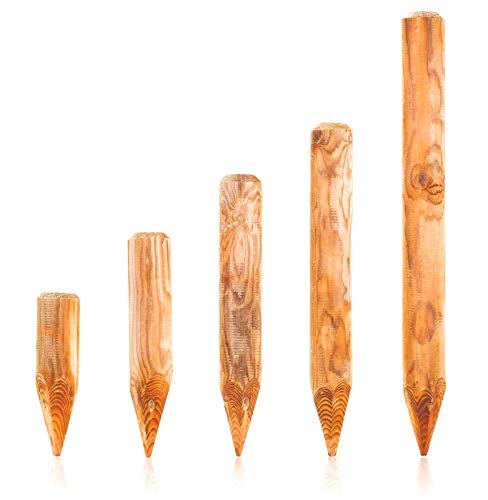 BooGardi Runde Baumpfähle Holzpalisaden · 39 Größen · Palisade Holz als Beetumrandung und Rasenkante (ø 10cm, Länge: 30cm)
