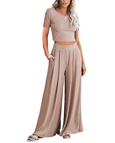 Lveberw Lounge Set Womens, Outfits Sets, Ribbed Crop Top Long Sleeve, Palazzo Pants - Loose Sweatsuit Knit,2 Piece Pajamas(S Khaki, Large)