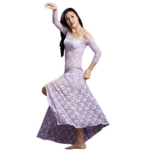 YiiJee Damen Tanzkleidung Bauchtanz Kostüm Eleganten Belly Dance Kleid Bauchtanz Tops Helles Lila