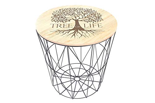 Sifcon International plc 40x40Cm Round Tree of Life Side Table Black Metal Frame Home Office