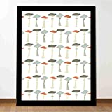 Proceso de impresión mural Seta con Boletus Porcini de colores Amanita Setas comestibles Decoración de alimentos orgánicos estudio dormitorio sala de estar