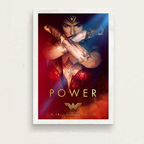 Fymm丶shop GAL Gadot Wonder Woman Hot Superhero Movie Art Seda Pintura sobre Lienzo Cartel De La Pared Decoración para El Hogar 40X50Cm