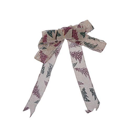 Amosfun - Adornos para árbol de Navidad, diseño Vintage de Lazos de Lino, para Colgar en el árbol de Navidad, decoración de Fiestas