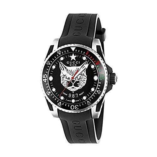 Gucci Reloj de Buceo de 40 mm de la Caja de Acero, Correa de Caucho YA136320