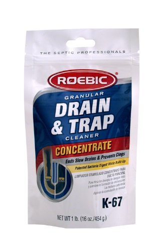 Roebic K-67BAG-16 OZ Biodegradable Granular Drain & Trap Cleaner Ends Slow Drainage and Prevents Clogs, 16 Ounces