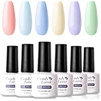6-Pack Candy Lover Selected Pastel Bright Colors Gel Nail Polish Set