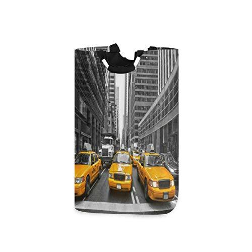 LOSNINA Wäschesammler Wäschekorb Faltbarer Aufbewahrungskorb,Gelbes Taxi New York City Cab Hochhaus Gebäude kreative Ansicht,Wäschesack - Wäschekörbe - Laundry Baskets