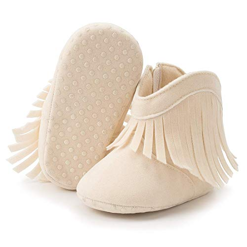 HsdsBebe Infant Baby Girls Fringe Tassel Ankle Boots Toddler Zipper Soft Sole Non-Slip Booties Newborn Prewalker Moccasin Crib Shoes(C65 Apricot,1)