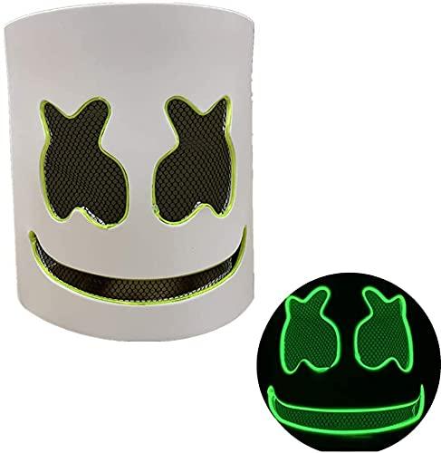 Máscara de DJ, Halloween Máscara LED, Music Festival Marshmallow Full Head Casco de Látex Máscara de Halloween Fiesta, para Cosplay, Festivales