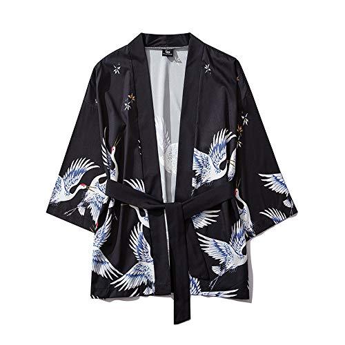 HENGX Yukata Kimonos Cardigan Unisex,Abito Giapponese Yukata con Lacci per Uomo E Donna Kimono Stampato con Gru Volante Stile Giapponese Giacca Casual Allentata,Black-XL