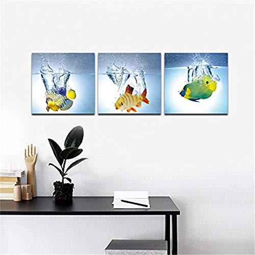 MMLFY 3 canvas schilderijen 40x40cmx3pcs Happy Fish 3 Panelen Moderne Animal Picture Foto Schilderijen op Canvas Wall Art voor Slaapkamer Keuken Home Decoraties